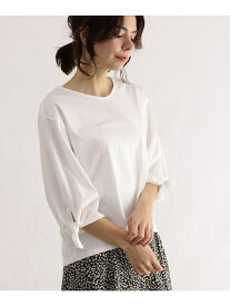 OZOC [洗える]袖結びプルオーバー オゾック カットソー Tシャツ ホワイト ブラック ブラウン レッド