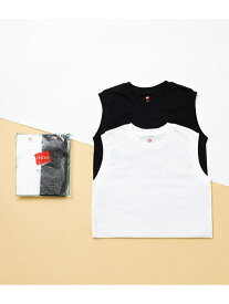 ADAM ET ROPE' 【Hanes for BIOTOP】Sleeveless T-Shirts(ホワイト×ブラック) アダムエロペ カットソー カットソーその他 ブラック【送料無料】