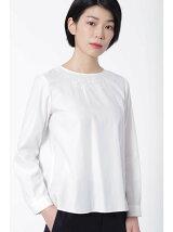 刺繍ネックサテンブラウス[HUMAN WOMAN Japan couture]