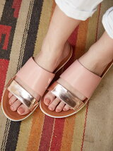 (W)DELTA SLIDE SANDALS-LEATHER/MIRROR