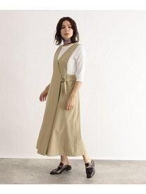 【SALE/40%OFF】OZOC [洗える]ウエストベルト風ジャンパースカート オゾック スカート ジャンパースカート ベージュ【送料無料】