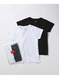 ADAM ET ROPE' 【Hanes for BIOTOP】Compact T-Shirts(ホワイト*ブラック) アダムエロペ カットソー カットソーその他 ブラック【送料無料】