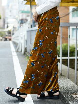 ベロア花柄ワイドパンツ