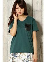 (L)フェイクレザーポケットTシャツ