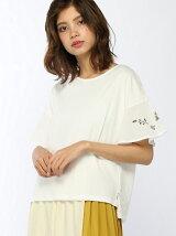 袖ボタニカル刺繍Tシャツ
