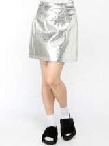【JUNIOR SWEET】(L)メタリックAラインミニスカート