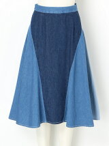 PANEL DENIM FLARED SKIRT