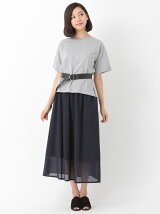 SET3点 Tシャツ+マキシスカート+ベルト