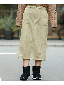 【SALE/61%OFF】Ray Cassin ポンチスウェードペンシルスカート レイカズン スカート 台形スカート/コクーンスカート カーキ ベージュ グレー ブラウン