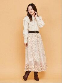 【SALE/24%OFF】axes femme (W)花柄チュール重ねSK アクシーズファム スカート ロングスカート ベージュ ブラック