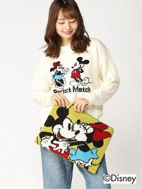Disney Disney/ニット+クラッチバッグセット(ミッキー&ミニー) タキヒヨー ニット 長袖ニット ホワイト【送料無料】