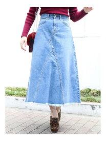 【SALE/50%OFF】dazzlin Lee×dazzlinヘムフリンジロングスカート ダズリン スカート デニムスカート ブルー【送料無料】