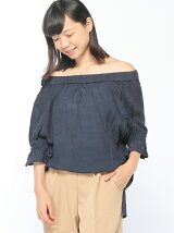 楊柳バックリボントップス/オフショルダー/AW