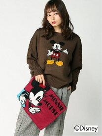 Disney Disney/ニット+クラッチバッグセット(ミッキー&ミニー) タキヒヨー ニット 長袖ニット ブラウン【送料無料】