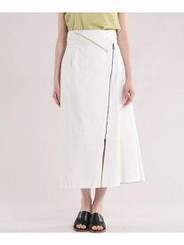 【SALE/50%OFF】INED 《Luftrobe》ジッパーデザインラップスカート イネド スカート フレアスカート ホワイト ブラウン【送料無料】