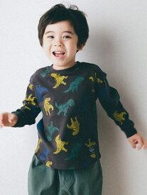 【SALE/30%OFF】SLAP SLIP 恐竜柄 プリント 長袖 Tシャツ (80~130cm) ベベ オンライン ストア カットソー Tシャツ グレー パープル