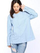 (W)アームフリル襟なしシャツ・ブラウス