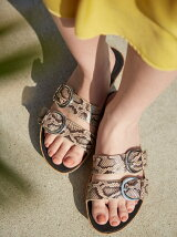 (W)DUO-BUCKLE SLIDE SANDALS-SNAKE-PRINT
