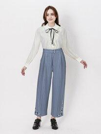 【SALE/25%OFF】axes femme (W)裾刺繍ストライプワイドパンツ アクシーズファム パンツ/ジーンズ ワイド/バギーパンツ ブルー ブラック ホワイト