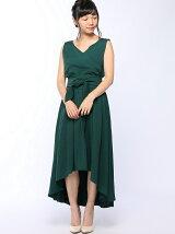 flexin/(W)フィッシュテールカシュクールロングドレス サッシュベルト付