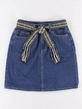 ベルト付き デニム台形スカート