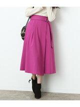 ベルト付きラップ風ミモレ丈スカート