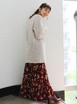 【La】フラワープリントプリーツスカート