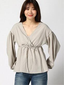 LOWRYS FARM linen like Cache-coeur BL Raleigh farm shirt / blouse shirt / blouse or other gray brown black green