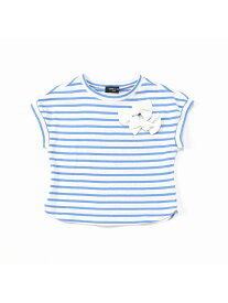 COMME CA ISM ボーダーリボン付き 半袖Tシャツ コムサイズム カットソー