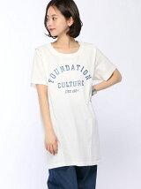 カレッジロゴカットワークリメイクTシャツ