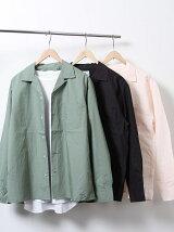 タイプライターロングスリーブオープンカラーシャツ