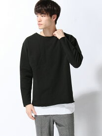 【SALE/60%OFF】SPENDY'S Store インレイTシャツ×ワッフルタンクトップ スペンディーズストア カットソー アンサンブル/ツインセット ブラック ホワイト レッド