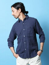 ダブルガーゼロールアップ七分袖シャツ