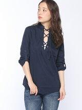 (W)コットンフロント編み上げデザインブラウス・シャツ