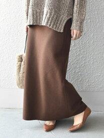 Khaju 《予約》Khaju:ウールブレンドセミフレアスカート シップス スカート ロングスカート ブラウン ホワイト【送料無料】