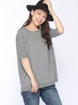 (W)モヘア混半袖チュニックニット・セーター