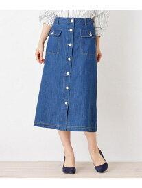 【SALE/43%OFF】grove フロントボタンラインデニムスカート グローブ スカート スカートその他 ブルー
