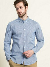 (M)吸水速乾 コードレーンストライプBDシャツ