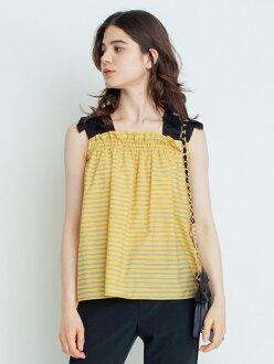 LANVIN en Bleu shoulder ribbon blouse orchid van piggyback roux shirt / blouse no sleeve / camisole shirt yellow pink