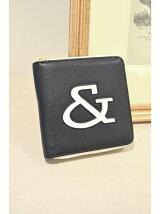 バイカラー抜きロゴ二つ折り財布