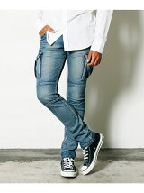 SHAVING STRETCH DENIM TIGHT CARGO PANTS