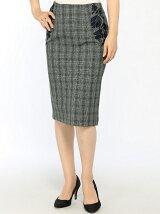 ENNEA スカート/(W)刺繍入りタイトスカート