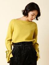 【秋の新作】サイドスリットリボンスリーブセーター