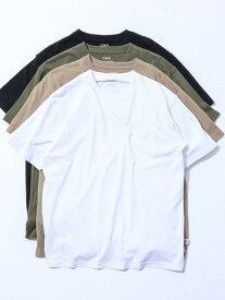 【SALE/50%OFF】coen USAコットンヘビーウェイトクルーネックポケットTシャツ# コーエン カットソー Tシャツ ホワイト ブラック ベージュ カーキ