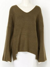 RIB STITCH V/N KNIT TOPS