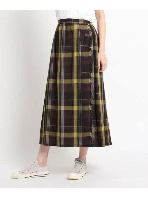 ラップ風チェックロングスカート