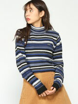 MULTI STRIPE CN KNIT TOP