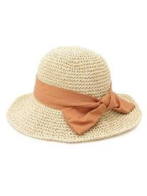 【SALE/30%OFF】grove こま編み結びリボンキャペリン グローブ 帽子/ヘア小物 ハット ホワイト ブラウン ベージュ