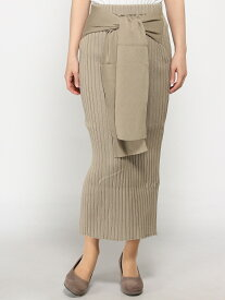 【SALE/75%OFF】DouDou リブニットリボンスカート パル グループ アウトレット スカート ロングスカート ベージュ