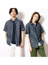 モザイク風ジャカードデニム半袖シャツ